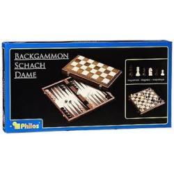 Schach-Backgammon-Dame magnetisch